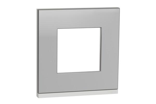 Рамка 1-постова, горизонтальна, Алюміній матовий/білий, Schneider Unica NEW Pure NU600280