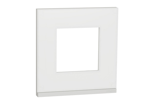 Рамка 1-постова, горизонтальна, Матове скло/білий, Schneider Unica NEW Pure NU600289