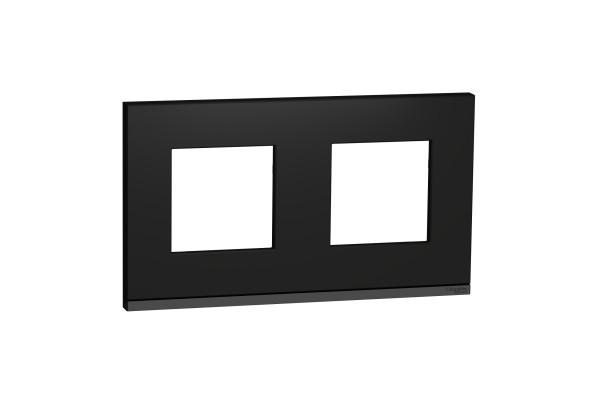 Рамка 2-постова, горизонтальна, Каучук/антрацит, Schneider Unica NEW Pure NU600482