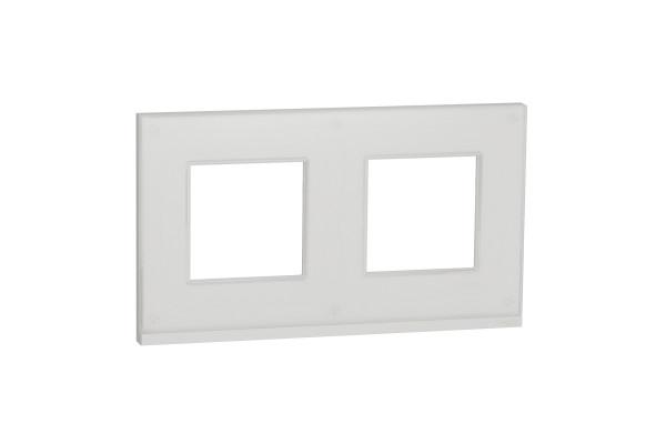 Рамка 2-постова, горизонтальна, Біле скло/білий, Schneider Unica NEW Pure NU600485