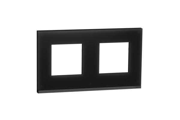 Рамка 2-постова, горизонтальна, Чорне скло/антрацит, Schneider Unica NEW Pure NU600486