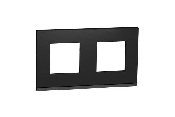 Рамка 2-постова, горизонтальна, Камень/антрацит, Schneider Unica NEW Pure NU600487