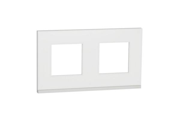 Рамка 2-постова, горизонтальна, Матове скло/білий, Schneider Unica NEW Pure NU600489