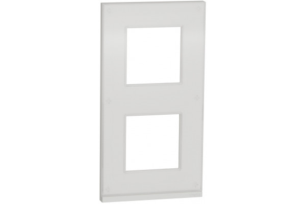 Рамка 2 постова, вертикальна, Біле скло, Schneider Unica NEW Pure NU6004V85
