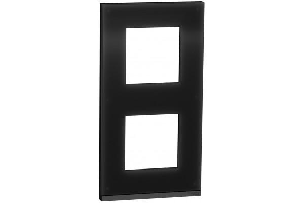 Рамка 2 постова, вертикальна, Чорне скло, Schneider Unica NEW Pure NU6004V86