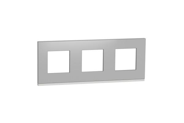 Рамка 3-постова, горизонтальна, Алюміній матовий/білий, Schneider Unica NEW Pure NU600680