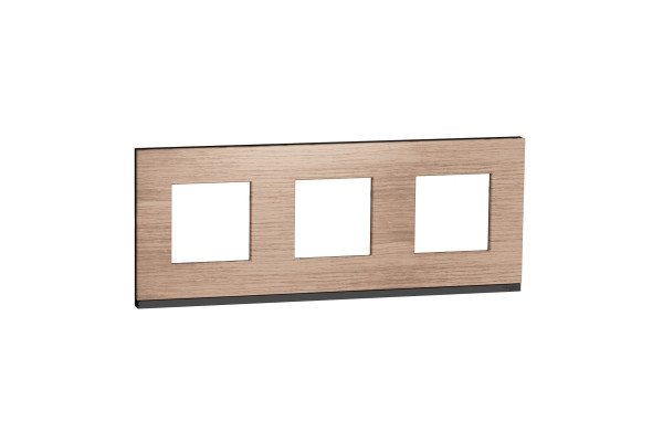 Рамка 3-постова, горизонтальна, Дуб/антрацит, Schneider Unica NEW Pure NU600684