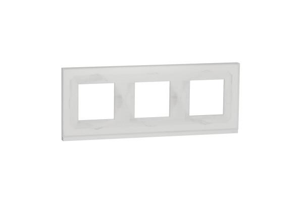 Рамка 3-постова, горизонтальна, Біле скло/білий, Schneider Unica NEW Pure NU600685