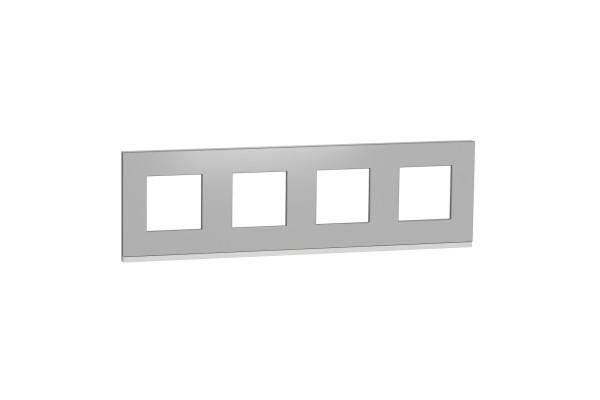 Рамка 4-постова, горизонтальна, Алюміній матовий/білий, Schneider Unica NEW Pure NU600880