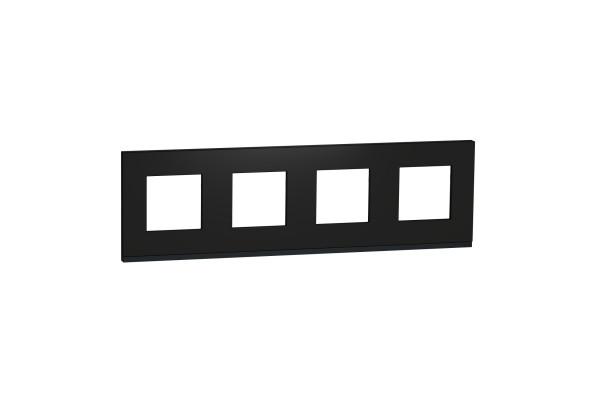 Рамка 4-постова, горизонтальна, Каучук/антрацит, Schneider Unica NEW Pure NU600882