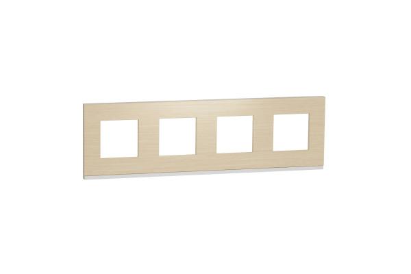 Рамка 4-постова, горизонтальна, Клен/білий, Schneider Unica NEW Pure NU600883