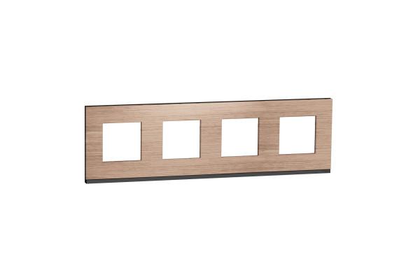 Рамка 4-постова, горизонтальна, Дуб/антрацит, Schneider Unica NEW Pure NU600884