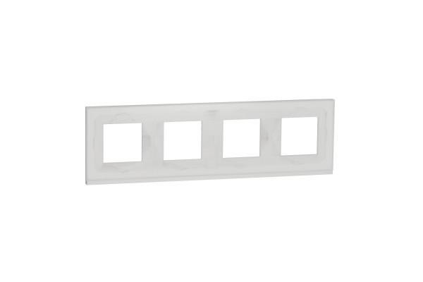 Рамка 4-постова, горизонтальна, Біле скло/білий, Schneider Unica NEW Pure NU600885