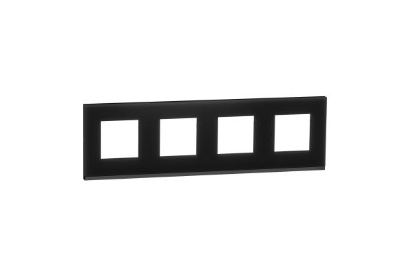 Рамка 4-постова, горизонтальна, Чорне скло/антрацит, Schneider Unica NEW Pure NU600886
