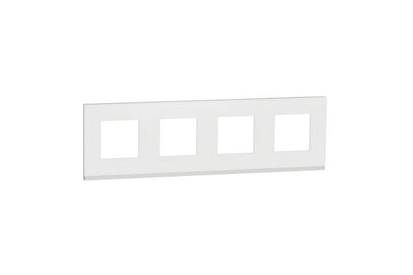 Рамка 4-постова, горизонтальна, Матове скло/білий, Schneider Unica NEW Pure NU600889